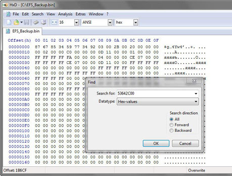 «Hex Editor - HxD 1.7.7.0» \ «Search \ Find»